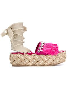 сандалии с бахромой и украшением из кристаллов Miu Miu