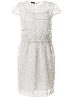 полупрозрачное платье с вышивкой ришелье  Emporio Armani
