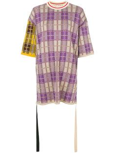 клетчатая футболка в стиле оверсайз Marni