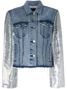 джинсовая куртка с бахромой и рукавами металлик Rta
