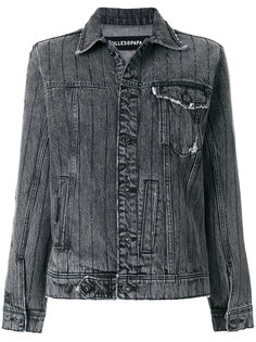 джинсовая куртка с бахромой и кристаллами  Filles A Papa