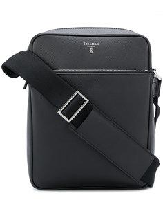 сумка-мессенджер с бляшкой с логотипом Serapian