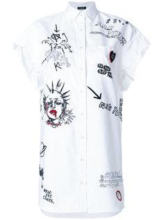 длинная рубашка с принтом  R13