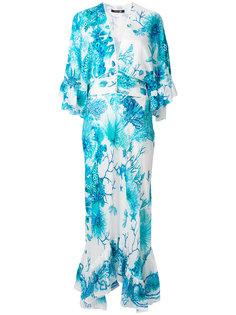 длинное платье шифт с цветочным принтом  Roberto Cavalli