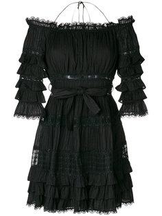 платье с оборками и открытыми плечами Zimmermann