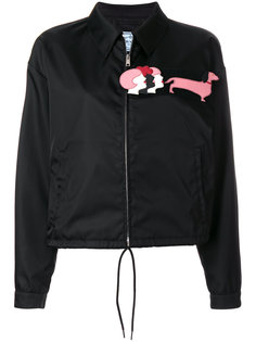 куртка-бомбер из лоснящейся ткани Prada