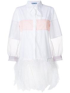 рубашка с сетчатыми рукавами  Prada