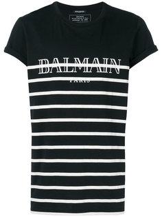 футболка в полоску с принтом логотипа Balmain