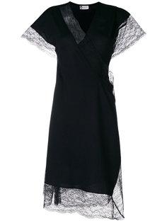 платье с запахом и кружевной отделкой  Lanvin
