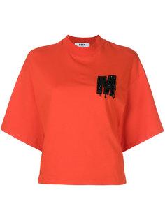 футболка с высокой горловиной и логотипом  MSGM