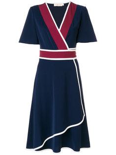 приталенное платье с V-образным вырезом Tory Burch