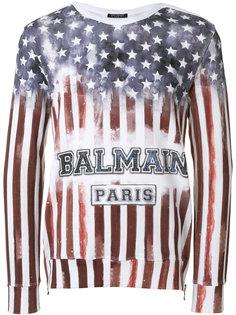 толстовка с американским флагом Balmain