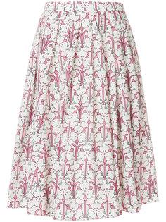 плиссированная юбка миди с цветочным принтом  Prada
