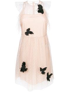 сетчатое платье с отделкой в виде бабочек  Red Valentino