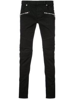 байкерские джинсы в рубчик Balmain