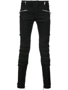 байкерские джинсы с молниями Balmain