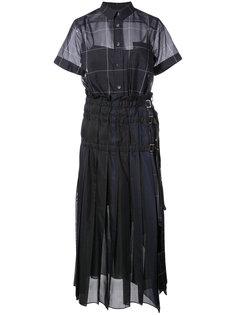 прозрачное плиссированное платье из органзы Sacai