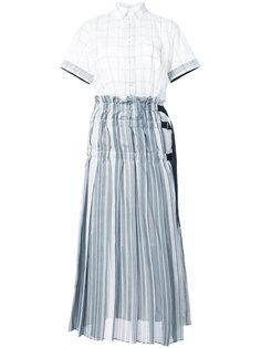 двусоставное платье с плиссировкой Sacai