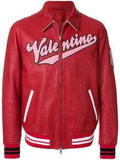 кожаная куртка с логотипом  Valentino