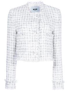 укороченный твидовый пиджак MSGM