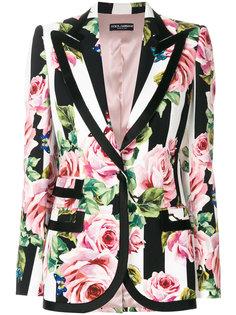 пиджак с принтом роз Dolce & Gabbana
