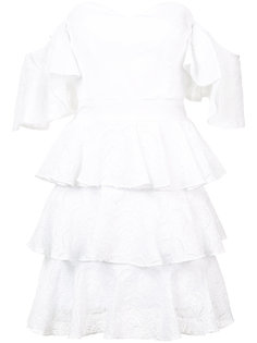 многоярусное платье с открытыми плечми Caroline Constas