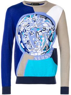 толстовка с логотипом дизайна колор-блок Versace