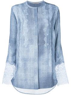 рубашка без воротника с кружевными панелями Ermanno Scervino