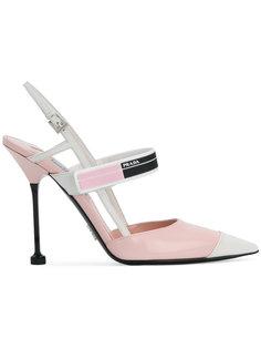 туфли-лодочки с заостренным носком и открытой пяткой Prada