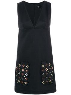платье шифт с декорированными карманами  Versus