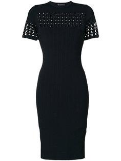 платье в рубчик с перфорацией  Versace