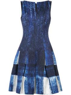 платье с принтом и складками Oscar de la Renta