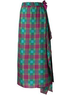 юбка с драпировкой и узором  Alberta Ferretti