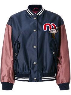 университетская куртка-бомбер Miu Miu