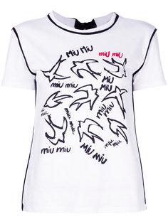 футболка с ласточками Miu Miu