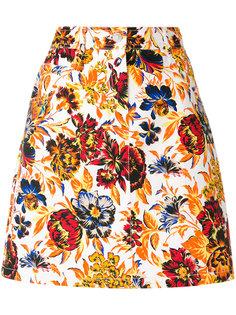 джинсовая юбка с цветочным принтом MSGM