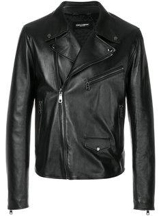 байкерская куртка с леопардовым принтом Dolce & Gabbana
