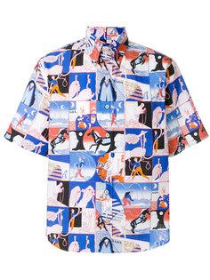 рубашка с комбинированным принтом Prada