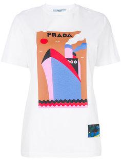футболка с логотипом и принтом  Prada