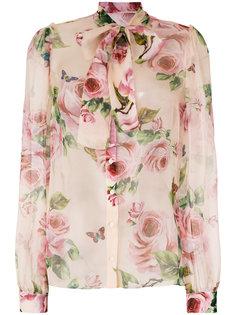 блузка с высоким воротом и шарфом  Dolce & Gabbana