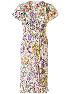 присборенное платье с цветочным принтом Etro