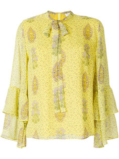 блузка с цветочным принтом и завязкой на вороте  Giambattista Valli