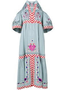 платье с вышивкой и открытыми плечами  Temperley London