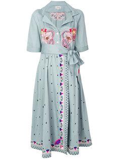 платье с вышивкой и завязкой на талии  Temperley London