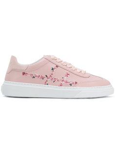 кроссовки с цветочной вышивкой Hogan