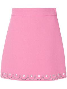декорированная юбка А-силуэта  Miu Miu