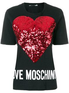 футболка с принтом сердца из пайеток Love Moschino