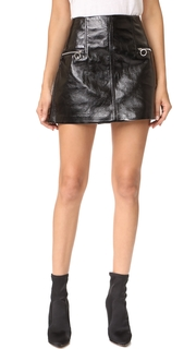 Blank Denim Faux Leather Skirt