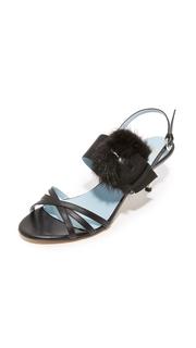 Frances Valentine Lisette Fur Sandals
