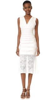 Herve Leger Striped Lace Inset Dress